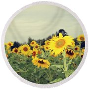 Round Beach Towel featuring the photograph Yellow Fields by Candice Trimble