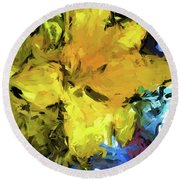 Yellow Flower And The Eggplant Floor Round Beach Towel
