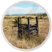Yellow Grass And Fence Anchor Round Beach Towel