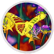 Yellow Monarch Butterfly Round Beach Towel