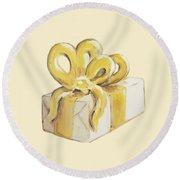 Yellow Present Round Beach Towel
