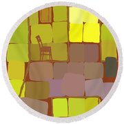 Round Beach Towel featuring the digital art Yellow Room by Attila Meszlenyi
