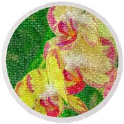 Yellow/rouge Orchids Round Beach Towel
