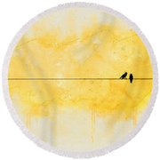 Yellow Sparrow Round Beach Towel