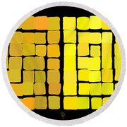 Round Beach Towel featuring the digital art Yellow Triptych by Attila Meszlenyi