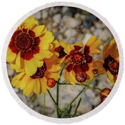 Yellow Wildflowers Round Beach Towel