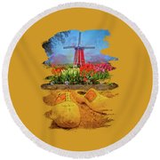 Yellow Wooden Shoes Round Beach Towel
