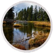 Round Beach Towel featuring the photograph Yellowstone National Park by Scott Read
