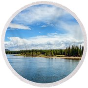 Round Beach Towel featuring the photograph Yellowstone River by Mike Braun