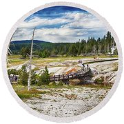 Round Beach Towel featuring the photograph Yellowstone Trails In The Geyeser Basin by Tatiana Travelways