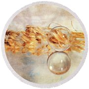 Round Beach Towel featuring the photograph Yesterday's Seeds by Randi Grace Nilsberg