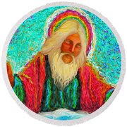 Yhwh Over Us Round Beach Towel