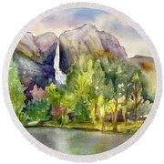 Yosemite Waterfalls Round Beach Towel