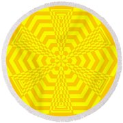 Young At Heart Yellow Round Beach Towel