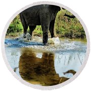 Young Elephant Playing In A Puddle Round Beach Towel