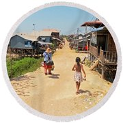 Young Girl Going Home - House On Stilts - Siem Reap, Cambodia Round Beach Towel