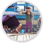 Young Girl With Snake 1, Cambodia Round Beach Towel