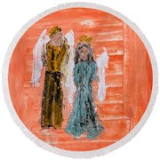 Young Love Angels Round Beach Towel