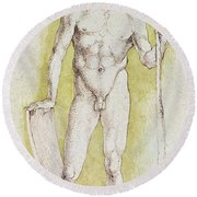 Young Nude Man Round Beach Towel