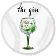 You're The Gin To My Tonic, Watercolor, Hand Drawn - Illustratio Round Beach Towel