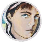 Round Beach Towel featuring the painting Youth And Zebra Stripes by Rene Capone