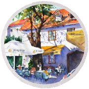 Zagreb Cafe #3 Round Beach Towel