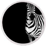 Zebra Drama Round Beach Towel