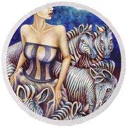 Zebra Moon Round Beach Towel
