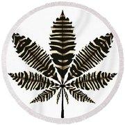 Zebra Pattern Marijuana Leaf 2 Round Beach Towel