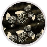 Zebra Pattern Nautilus Shells6 Round Beach Towel