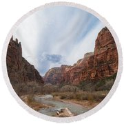 Zion National Park And Virgin River Round Beach Towel