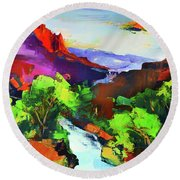 Zion - The Watchman And The Virgin River Round Beach Towel