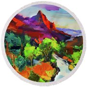 Zion - The Watchman And The Virgin River Vista Round Beach Towel