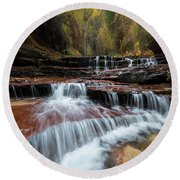 Zion Trail Waterfall Round Beach Towel