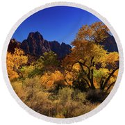 Round Beach Towel featuring the photograph Zions Beauty by Tassanee Angiolillo