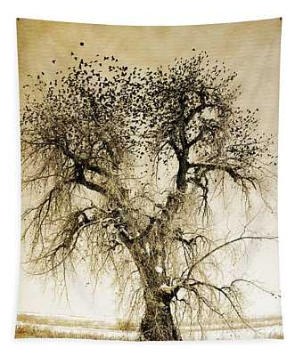 Bird Tree Fine Art  Mono Tone And Textured Tapestry
