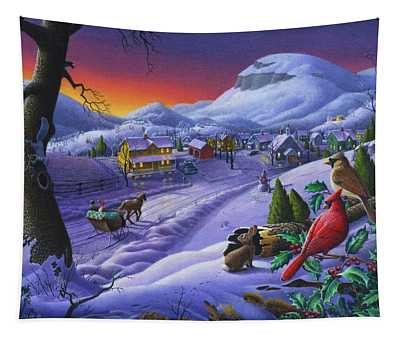 Christmas Sleigh Ride Winter Landscape Oil Painting - Cardinals Country Farm - Small Town Folk Art Tapestry