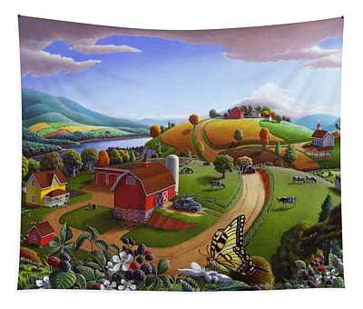 Folk Art Blackberry Patch Rural Country Farm Landscape Painting - Blackberries Rustic Americana Tapestry