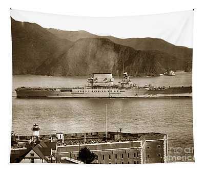 U. S. S. Lexington Cv-2 Fort Point Golden Gate San Francisco Bay California 1928 Tapestry