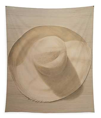 Travelling Hat On Dusty Table Tapestry