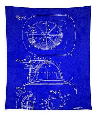 Vintage 1932 Firemans Helmet Patent Tapestry