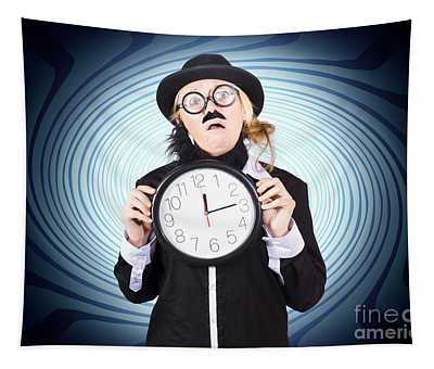 Nutty Professor With Clock. Crazy Science Time Tapestry