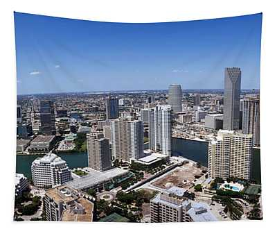 Aerial View Of A City, Miami Tapestry