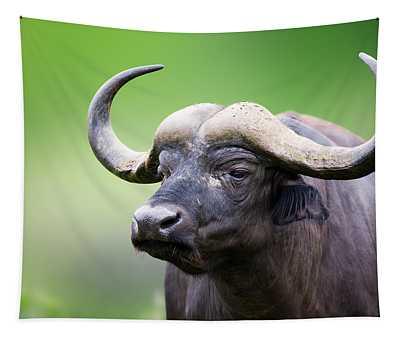 African Buffalo Portrait Tapestry
