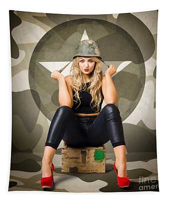 Beautiful Army Pinup Woman On Ammo Box Tapestry