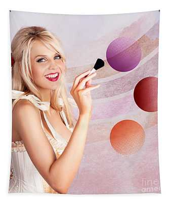 Beauty Woman Using Rouge Blush Color Pallet Tapestry