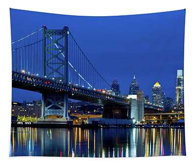 Ben Franklin Bridge At Dusk Tapestry