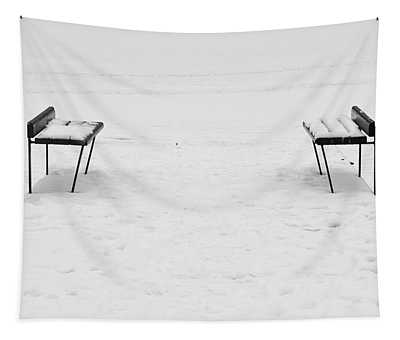 Benches On A Dock Tapestry