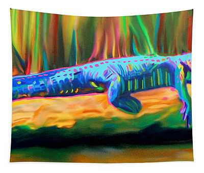 Blue Alligator Tapestry