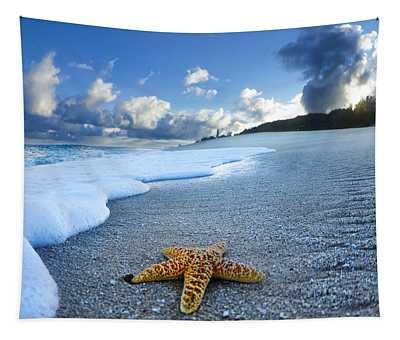 Blue Foam Starfish Tapestry